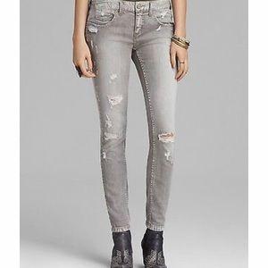 Free People Grey Distressed Skinny Jeans